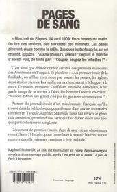 Pages de sang ; un prêtre français témoigne du massacre des arméniens - 4ème de couverture - Format classique