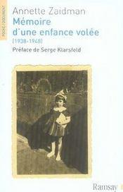 Mémoire d'une enfance volée (1938-1948) - Intérieur - Format classique