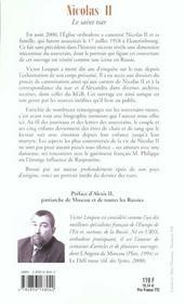 Nicolas Ii, Le Saint Tsar - 4ème de couverture - Format classique