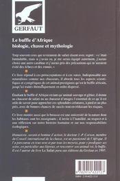 Buffle D'Afrique - 4ème de couverture - Format classique
