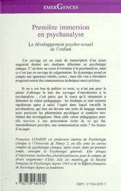 Premiere Immersion En Psychanalyse ; Le Developpement Psycho-Sexuel De L'Enfant - 4ème de couverture - Format classique