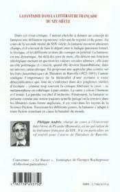 La Fantaisie Dans La Litterature Francaise Du Xix Siecle - 4ème de couverture - Format classique