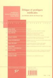 Revue Medievales T.46 ; Ethique Et Pratiques Médicales Aux Derniers Siècles Du Moyen-Age - 4ème de couverture - Format classique
