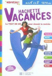 Hachette Vacances; de la 4ème à la 3ème - Intérieur - Format classique