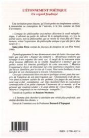 L'Etonnement Poetique: Un Regard Foudroye - 4ème de couverture - Format classique