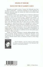 Soleil Et Mesure Dans L'Oeuvre D'Albert Camus - 4ème de couverture - Format classique
