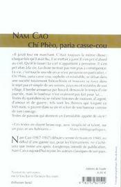 Chi Pheo, Paria Casse-Cou - 4ème de couverture - Format classique