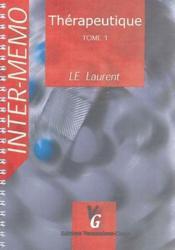 Thérapeutique t.1 - Couverture - Format classique