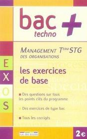 Management des organisations ; terminale STG ; les exercices de base - Intérieur - Format classique