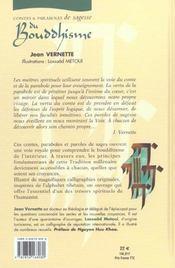 Contes & Paraboles De Sagesse Du Bouddhisme - 4ème de couverture - Format classique