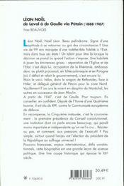 Leon Noel ; De Laval A De Gaulle Via Petain ; 1888-1987 - 4ème de couverture - Format classique