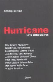 Hurricane, cris d'insulaires ; anthologie poétique - Intérieur - Format classique
