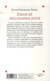 Essais de philosophie juive - 4ème de couverture - Format classique