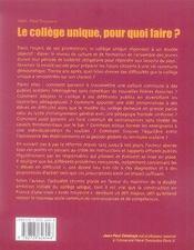 Le collège unique, pour quoi faire ? - 4ème de couverture - Format classique