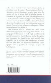 1814, La Guerre Racontee Par Les Temoins - 4ème de couverture - Format classique