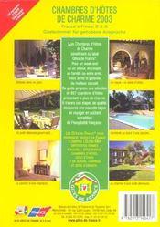 Chambres D'Hotes De Charme ; Edition 2003 - 4ème de couverture - Format classique