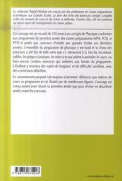 150 exercices corrigés de physique ; 1e année mpsi, pcsi, ptsi - 4ème de couverture - Format classique