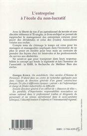 L'Entreprise A L'Ecole Du Non-Lucratif - 4ème de couverture - Format classique