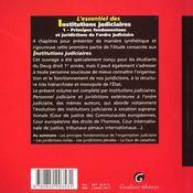 L'Essentiel De L'Organisation Judiciaire. - 4ème de couverture - Format classique
