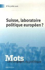 Suisse, laboratoire politique européen ? - Couverture - Format classique