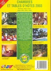 Guide National Chambres Et Tables D'Hotes ; Edition 2003 - 4ème de couverture - Format classique