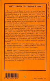 Alexis Leger / Saint-John Perse - 4ème de couverture - Format classique