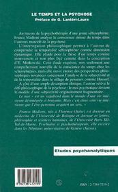 Le Temps Et La Psychose - 4ème de couverture - Format classique