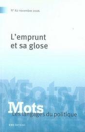 Mots T.82 ; L'Emprunt Et Sa Glose - Intérieur - Format classique