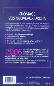 Chomage Vos Nouveaux Droits 2006 - 4ème de couverture - Format classique