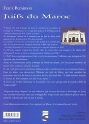 Juifs du maroc - 4ème de couverture - Format classique