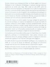 Introduction Au Droit Anglais Et Aux Institutions Britaniques 3e Edition - 4ème de couverture - Format classique