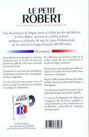 Le Petit Robert De La Langue Francaise ; 8e Edition - 4ème de couverture - Format classique