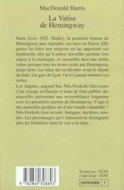 La Valise De Hemingway - 4ème de couverture - Format classique