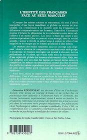 L'Identite Des Francaises Face Au Sexe Masculin : Perspectives Cognitives Et Experimentales - 4ème de couverture - Format classique