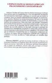 L'espace dans le roman africain francophone contemporain, 1970-1990 - 4ème de couverture - Format classique