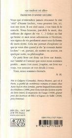 Passions D'Annie Leclerc - 4ème de couverture - Format classique