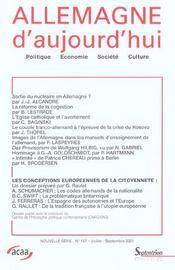 Revue Allemagne D'Aujourd'Hui N.157 ; Les Conceptions Européennes De La Citoyenneté - Intérieur - Format classique