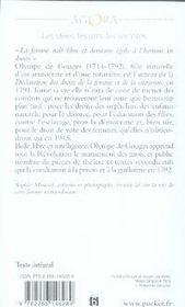 Olympe de gouges et les droits de la femme - 4ème de couverture - Format classique