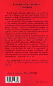 La Duplicite De L'Histoire ; Le Behemont - 4ème de couverture - Format classique