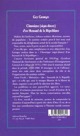 Chronique Aigre-Douce D'Un Hussard De La Republique - 4ème de couverture - Format classique