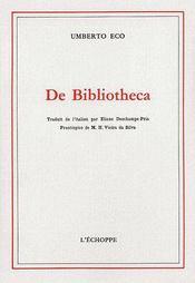 De bibliotheca - Couverture - Format classique