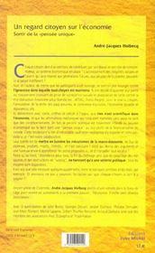Regard Citoyen Sur L'Economie (Un) - 4ème de couverture - Format classique