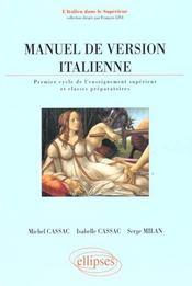 Manuel De Version Italienne Premier Cycle De L'Enseignement Superieur Et Classes Preparatoires - Intérieur - Format classique