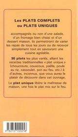 Les plats complets - 4ème de couverture - Format classique