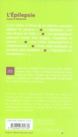 L'épilepsie - 4ème de couverture - Format classique