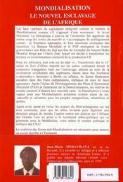Mondialisation Le Nouvel Esclavage De L'Afrique - 4ème de couverture - Format classique