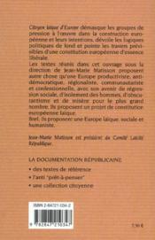 Citoyens laïques d'europe - 4ème de couverture - Format classique