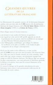 Dictionnaire des grandes oeuvres de la litteraturefrancaise relie souple - 4ème de couverture - Format classique