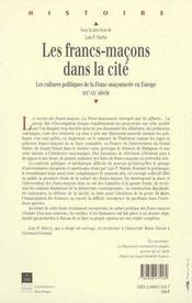 Francs Macons Dans La Cite - 4ème de couverture - Format classique