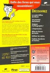 Word pour les nuls (édition 2002) - 4ème de couverture - Format classique